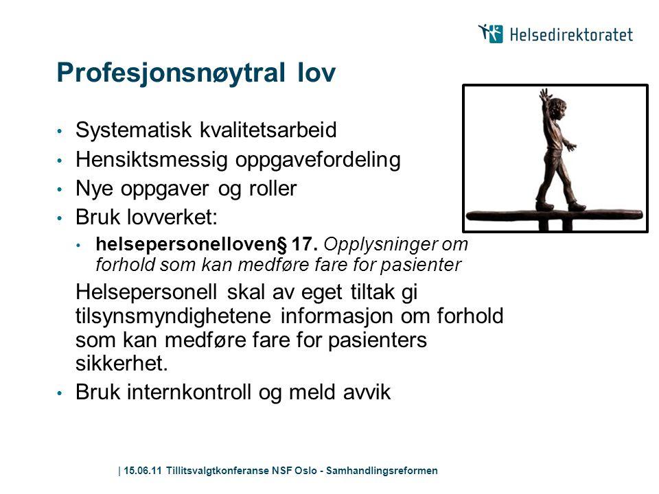 | 15.06.11 Tillitsvalgtkonferanse NSF Oslo - Samhandlingsreformen Profesjonsnøytral lov • Systematisk kvalitetsarbeid • Hensiktsmessig oppgavefordelin