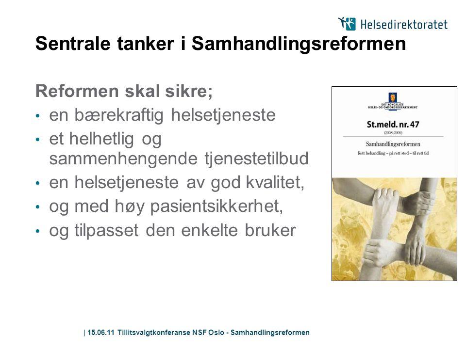 | 15.06.11 Tillitsvalgtkonferanse NSF Oslo - Samhandlingsreformen Sentrale tanker i Samhandlingsreformen Reformen skal sikre; • en bærekraftig helsetj