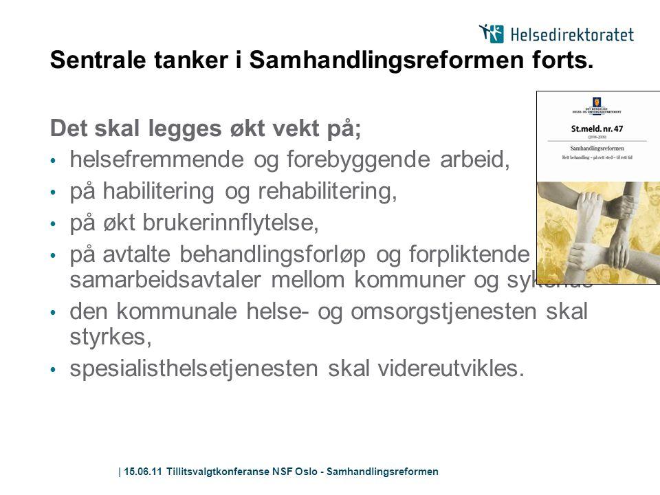 | 15.06.11 Tillitsvalgtkonferanse NSF Oslo - Samhandlingsreformen Sentrale tanker i Samhandlingsreformen forts. Det skal legges økt vekt på; • helsefr