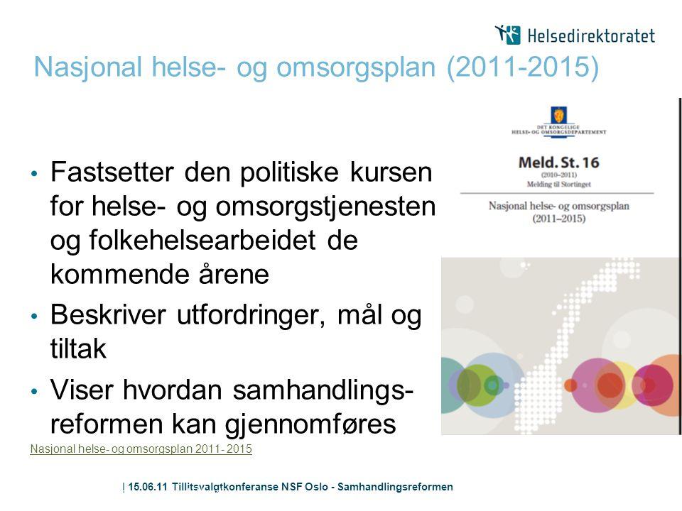 | 15.06.11 Tillitsvalgtkonferanse NSF Oslo - Samhandlingsreformen Nasjonal helse- og omsorgsplan (2011-2015) Samhandlingsreformen; fra ord til handlin