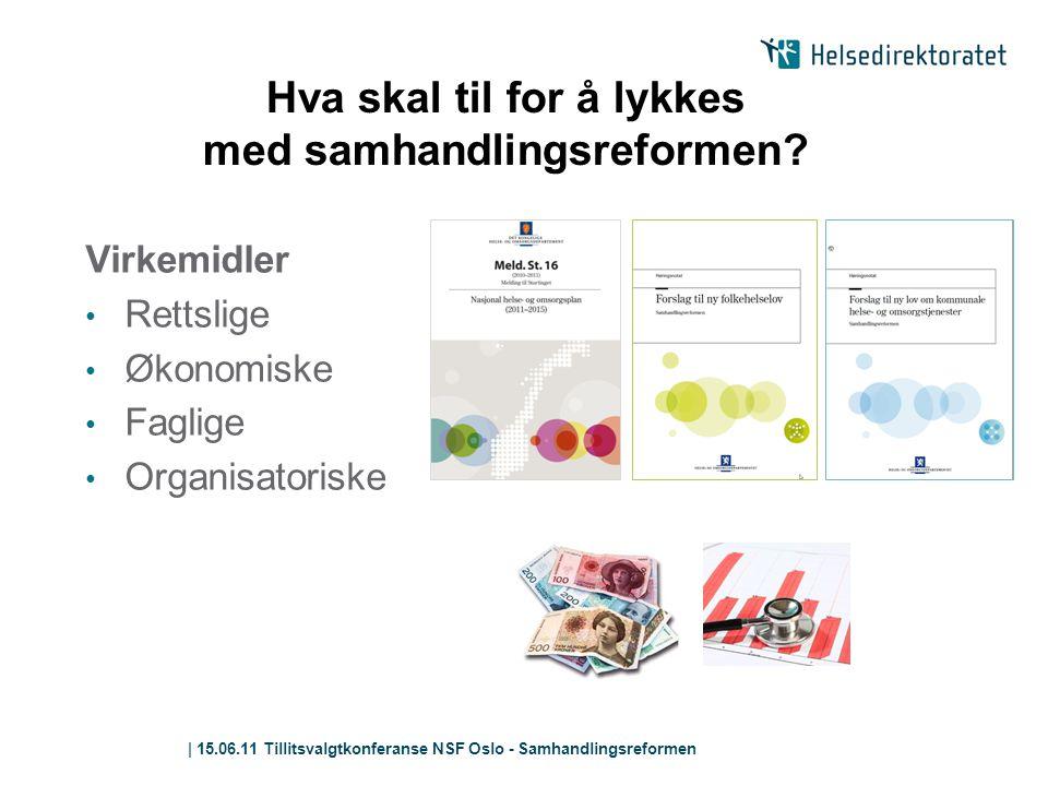 | 15.06.11 Tillitsvalgtkonferanse NSF Oslo - Samhandlingsreformen Hva skal til for å lykkes med samhandlingsreformen? Virkemidler • Rettslige • Økonom