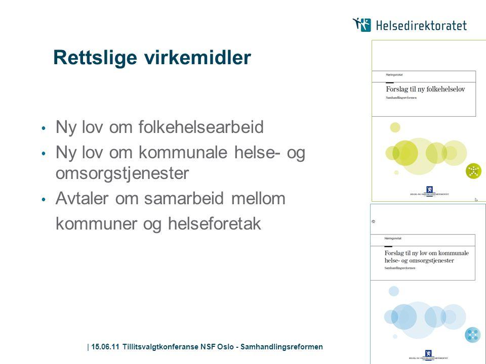 | 15.06.11 Tillitsvalgtkonferanse NSF Oslo - Samhandlingsreformen Rettslige virkemidler • Ny lov om folkehelsearbeid • Ny lov om kommunale helse- og o