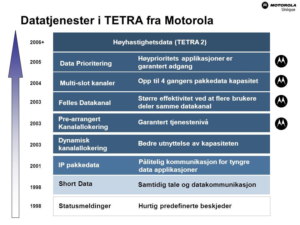 Datatjenester i TETRA fra Motorola Short Data IP pakkedata Dynamisk kanalallokering 1998 2001 2003 2004 2005 Unique 2006+ Høyhastighetsdata (TETRA 2) Data Prioritering Høyprioritets applikasjoner er garantert adgang Multi-slot kanaler Opp til 4 gangers pakkedata kapasitet Felles Datakanal Større effektivitet ved at flere brukere deler samme datakanal Pre-arrangert Kanalallokering Garantert tjenestenivå Bedre utnyttelse av kapasiteten Pålitelig kommunikasjon for tyngre data applikasjoner Samtidig tale og datakommunikasjon Hurtig predefinerte beskjeder Statusmeldinger