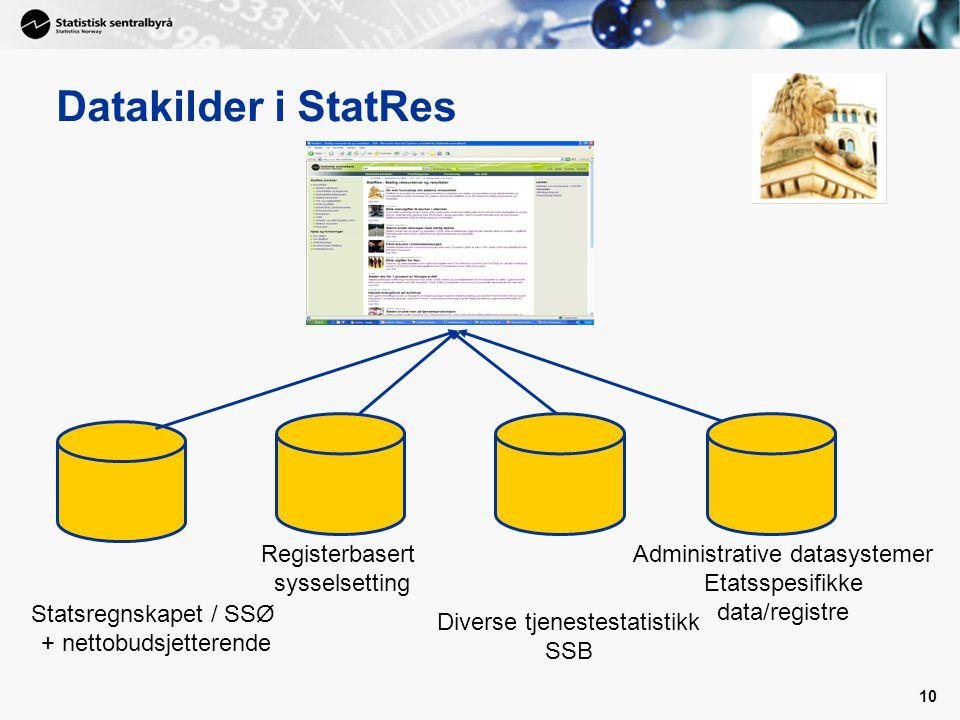 10 Datakilder i StatRes Statsregnskapet / SSØ + nettobudsjetterende Diverse tjenestestatistikk SSB Administrative datasystemer Etatsspesifikke data/registre Registerbasert sysselsetting