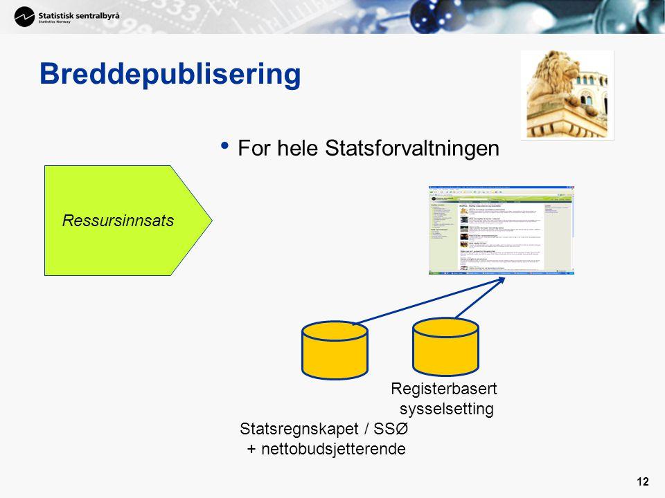 12 Breddepublisering • For hele Statsforvaltningen Ressursinnsats Statsregnskapet / SSØ + nettobudsjetterende Registerbasert sysselsetting