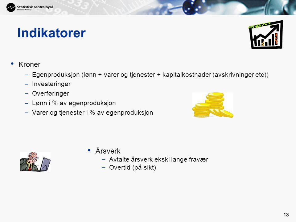 13 Indikatorer • Kroner –Egenproduksjon (lønn + varer og tjenester + kapitalkostnader (avskrivninger etc)) –Investeringer –Overføringer –Lønn i % av e