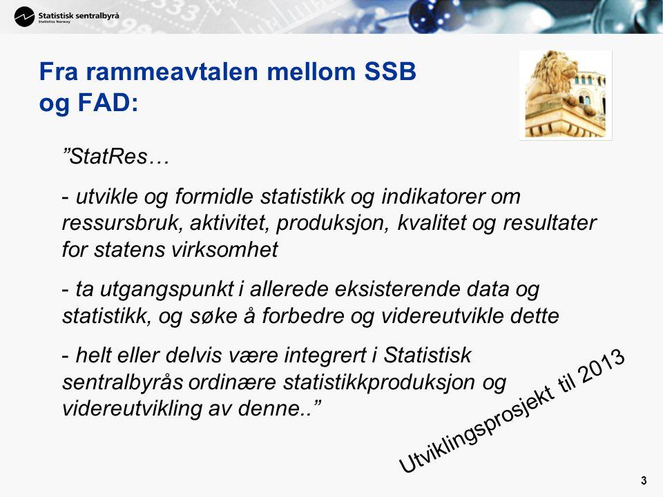 3 StatRes… - utvikle og formidle statistikk og indikatorer om ressursbruk, aktivitet, produksjon, kvalitet og resultater for statens virksomhet - ta utgangspunkt i allerede eksisterende data og statistikk, og søke å forbedre og videreutvikle dette - helt eller delvis være integrert i Statistisk sentralbyrås ordinære statistikkproduksjon og videreutvikling av denne.. Fra rammeavtalen mellom SSB og FAD: Utviklingsprosjekt til 2013