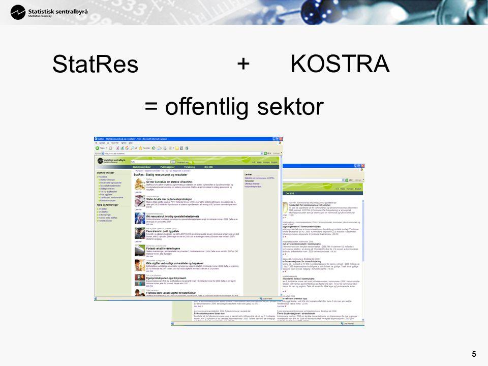 5 StatRes +KOSTRA = offentlig sektor
