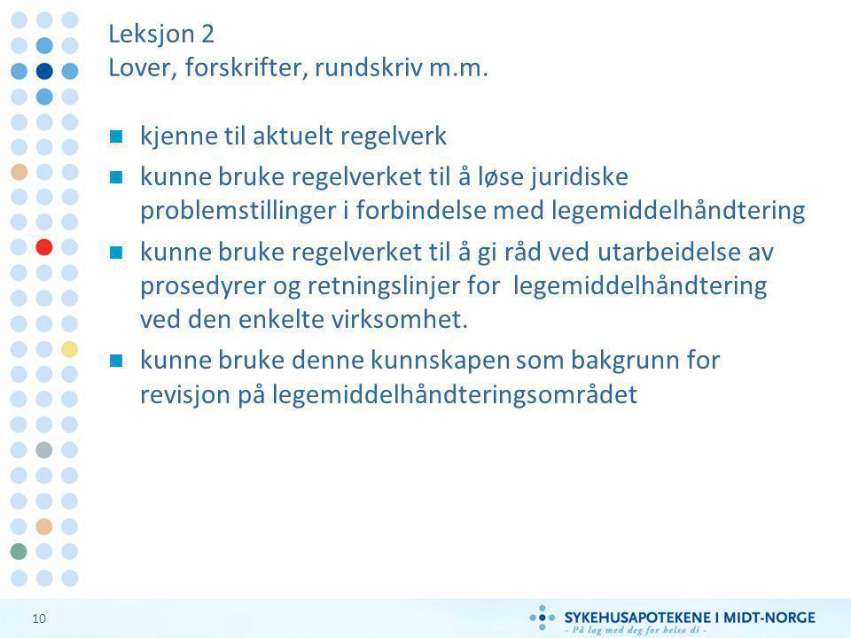 10 Leksjon 2 Lover, forskrifter, rundskriv m.m.  kjenne til aktuelt regelverk  kunne bruke regelverket til å løse juridiske problemstillinger i forb