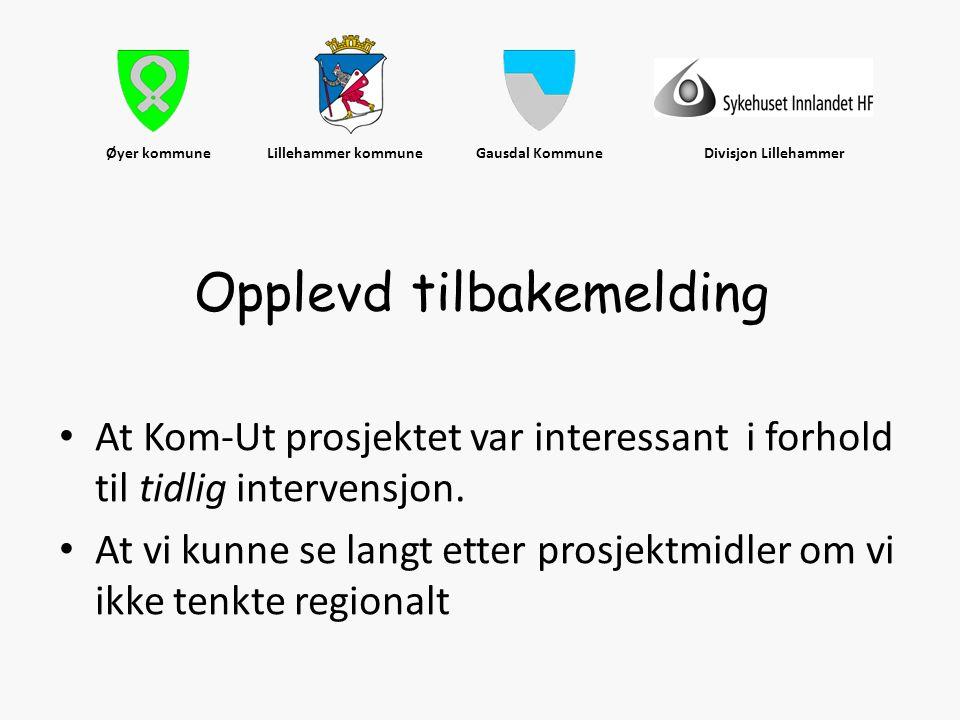 Øyer kommune Lillehammer kommune Gausdal Kommune Divisjon Lillehammer • At Kom-Ut prosjektet var interessant i forhold til tidlig intervensjon. • At v