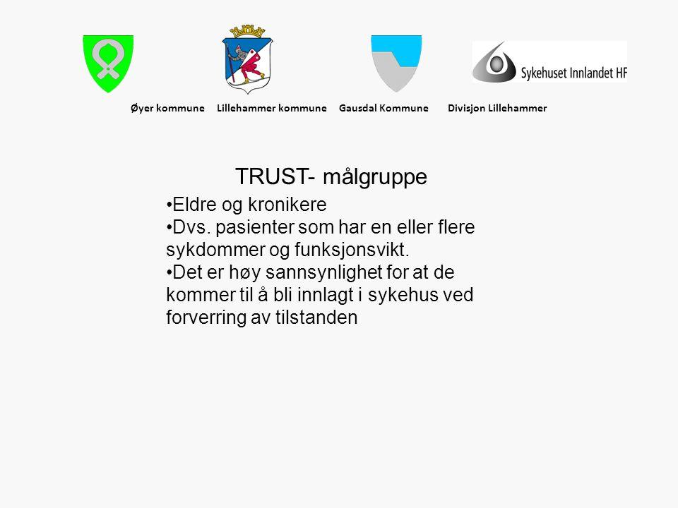 Øyer kommune Lillehammer kommune Gausdal Kommune Divisjon Lillehammer TRUST- målgruppe •Eldre og kronikere •Dvs. pasienter som har en eller flere sykd