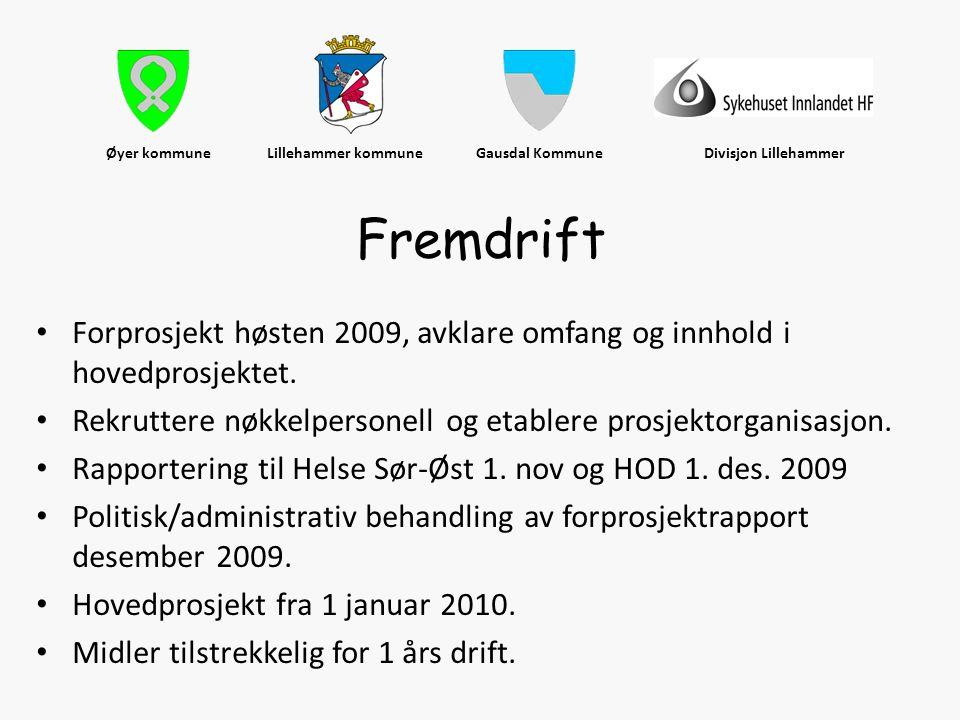 Øyer kommune Lillehammer kommune Gausdal Kommune Divisjon Lillehammer • Forprosjekt høsten 2009, avklare omfang og innhold i hovedprosjektet. • Rekrut