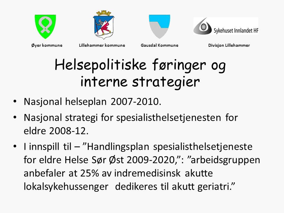 Øyer kommune Lillehammer kommune Gausdal Kommune Divisjon Lillehammer • Nasjonal helseplan 2007-2010. • Nasjonal strategi for spesialisthelsetjenesten