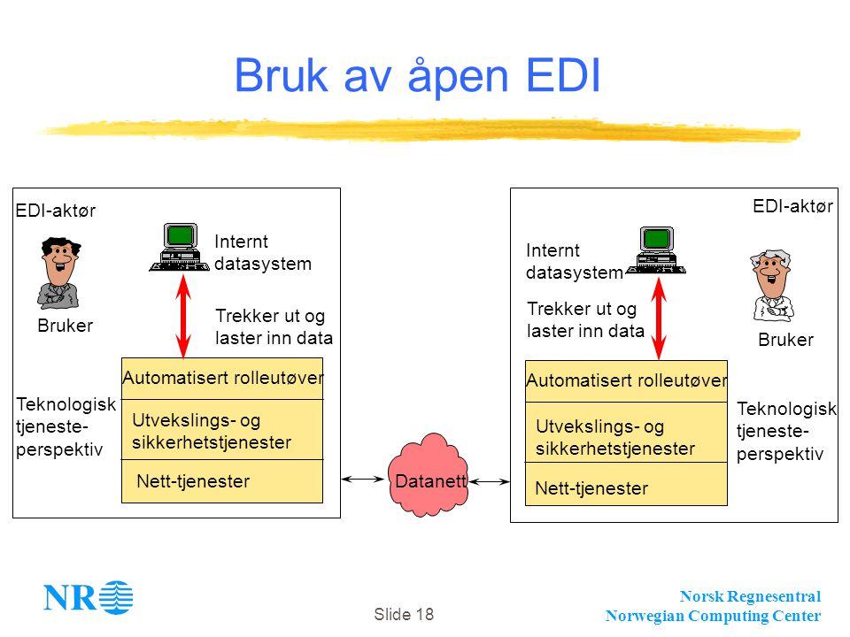 Norsk Regnesentral Norwegian Computing Center Slide 18 Datanett Trekker ut og laster inn data Bruker Nett-tjenester Utvekslings- og sikkerhetstjeneste
