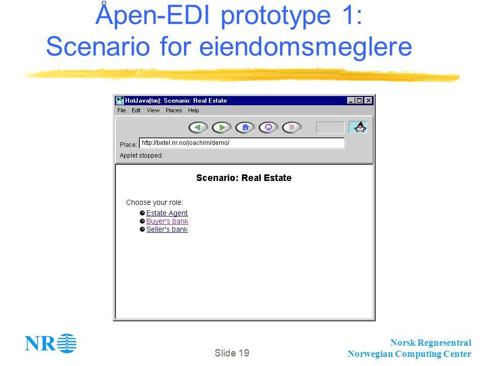 Norsk Regnesentral Norwegian Computing Center Slide 19 Åpen-EDI prototype 1: Scenario for eiendomsmeglere