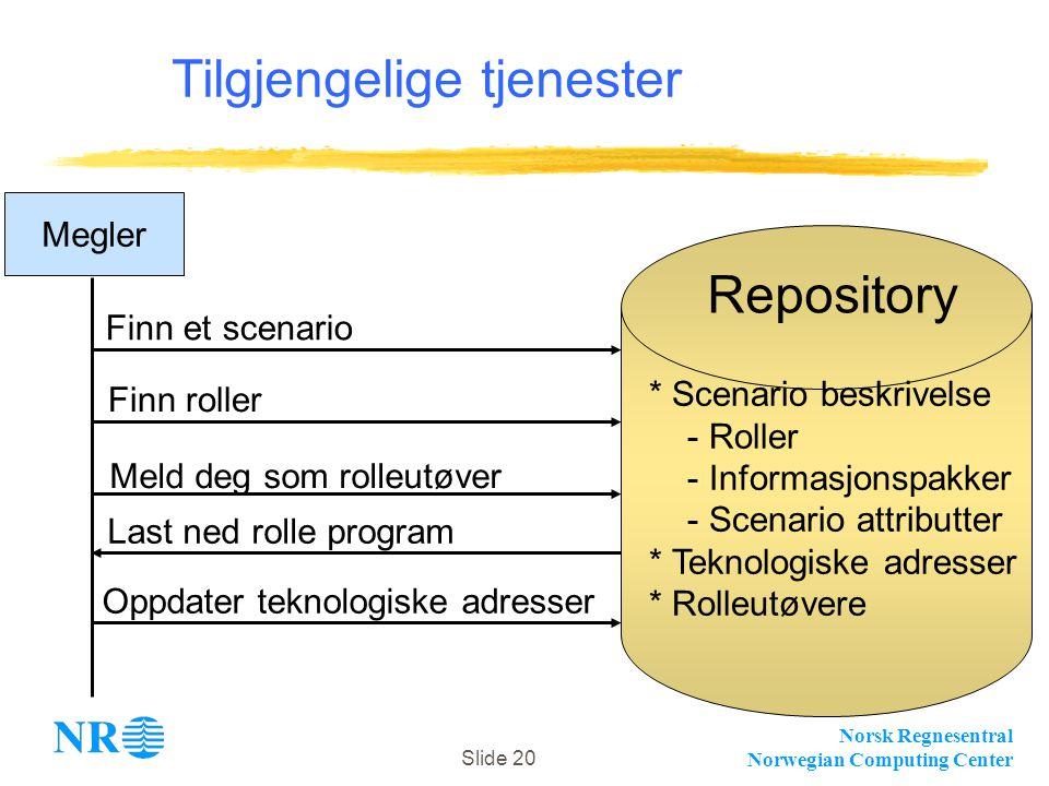 Norsk Regnesentral Norwegian Computing Center Slide 20 Tilgjengelige tjenester Megler Repository Finn et scenario Finn roller Last ned rolle program M