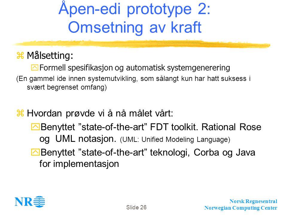 Norsk Regnesentral Norwegian Computing Center Slide 26 Åpen-edi prototype 2: Omsetning av kraft zMålsetting:  Formell spesifikasjon og automatisk sys