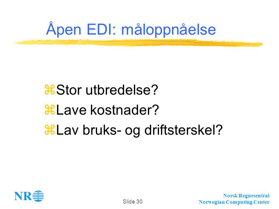 Norsk Regnesentral Norwegian Computing Center Slide 30 Åpen EDI: måloppnåelse zStor utbredelse? zLave kostnader? zLav bruks- og driftsterskel?