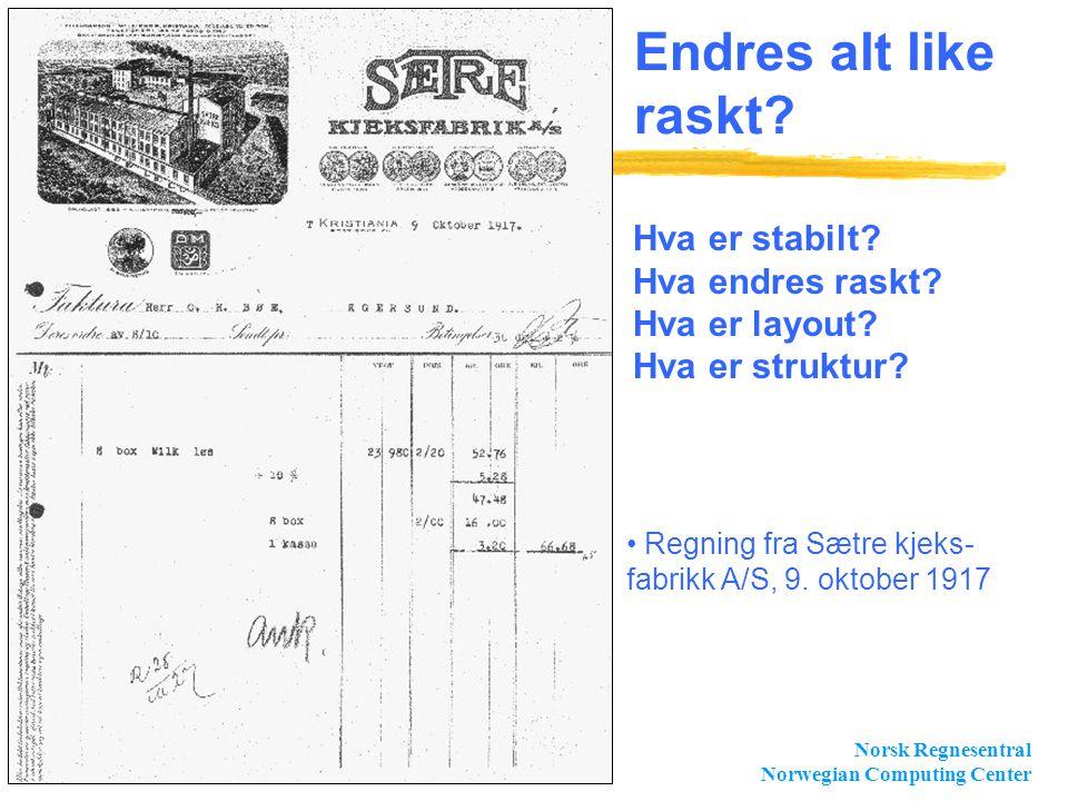 Norsk Regnesentral Norwegian Computing Center Slide 6 Endres alt like raskt? • Regning fra Sætre kjeks- fabrikk A/S, 9. oktober 1917 Hva er stabilt? H