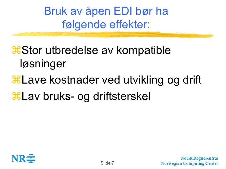Norsk Regnesentral Norwegian Computing Center Slide 7 Bruk av åpen EDI bør ha følgende effekter: zStor utbredelse av kompatible løsninger zLave kostna