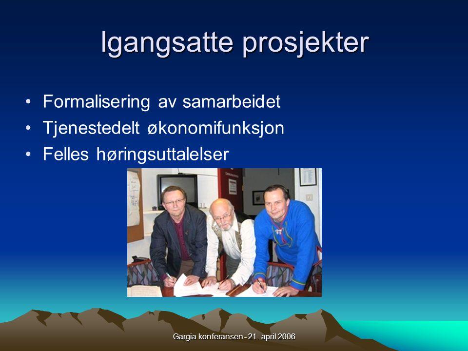 Gargia konferansen - 21. april 2006 Igangsatte prosjekter •Formalisering av samarbeidet •Tjenestedelt økonomifunksjon •Felles høringsuttalelser