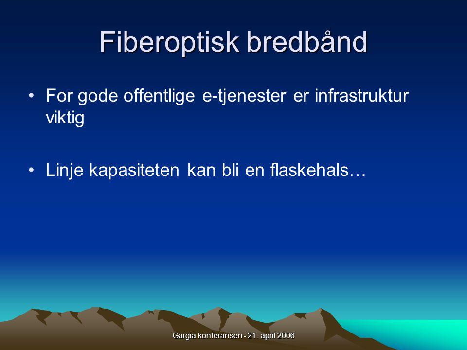 Gargia konferansen - 21. april 2006 Fiberoptisk bredbånd •For gode offentlige e-tjenester er infrastruktur viktig •Linje kapasiteten kan bli en flaske