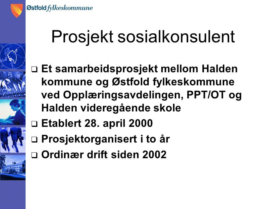 Prosjekt sosialkonsulent  Et samarbeidsprosjekt mellom Halden kommune og Østfold fylkeskommune ved Opplæringsavdelingen, PPT/OT og Halden videregående skole  Etablert 28.