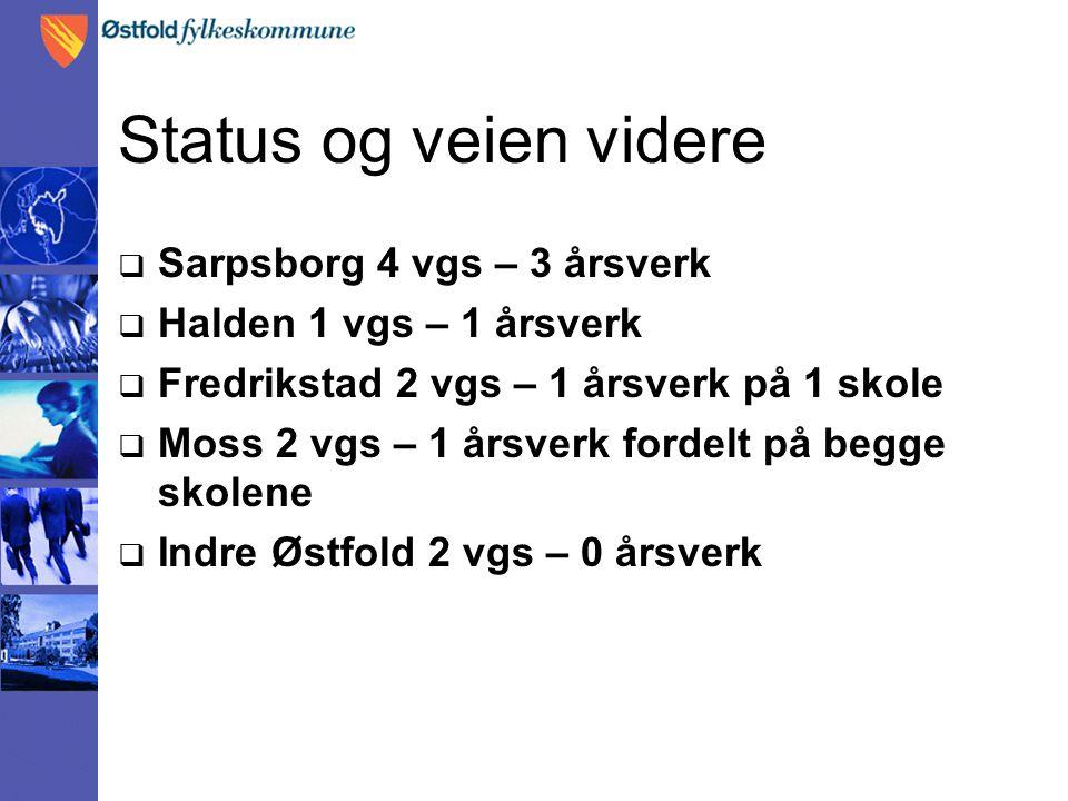 Status og veien videre  Sarpsborg 4 vgs – 3 årsverk  Halden 1 vgs – 1 årsverk  Fredrikstad 2 vgs – 1 årsverk på 1 skole  Moss 2 vgs – 1 årsverk fordelt på begge skolene  Indre Østfold 2 vgs – 0 årsverk