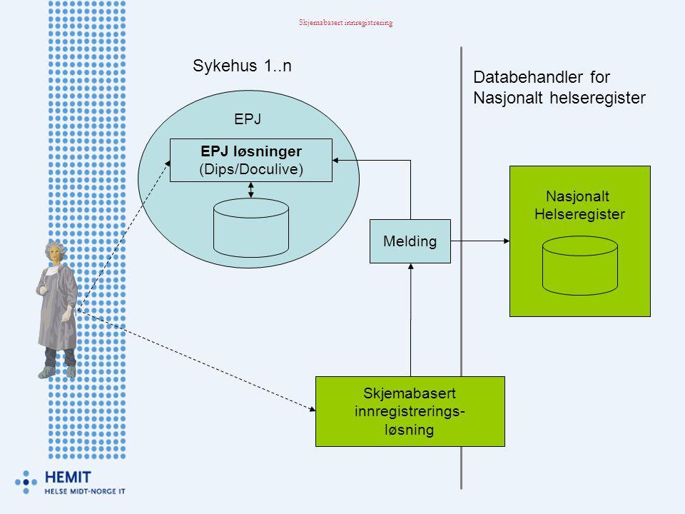Melding Skjemabasert innregistrerings- løsning Sykehus 1..n Databehandler for Nasjonalt helseregister Skjemabasert innregistrering EPJ EPJ løsninger (