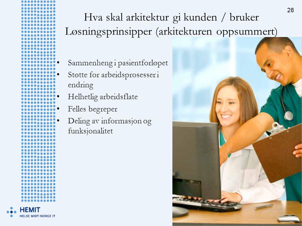 Hva skal arkitektur gi kunden / bruker Løsningsprinsipper (arkitekturen oppsummert) 26 •Sammenheng i pasientforløpet •Støtte for arbeidsprosesser i en