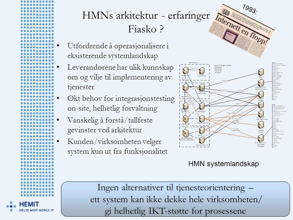 HMNs arkitektur - erfaringer Fiasko ? •Utfordrende å operasjonalisere i eksisterende systemlandskap •Leverandørene har ulik kunnskap om og vilje til i