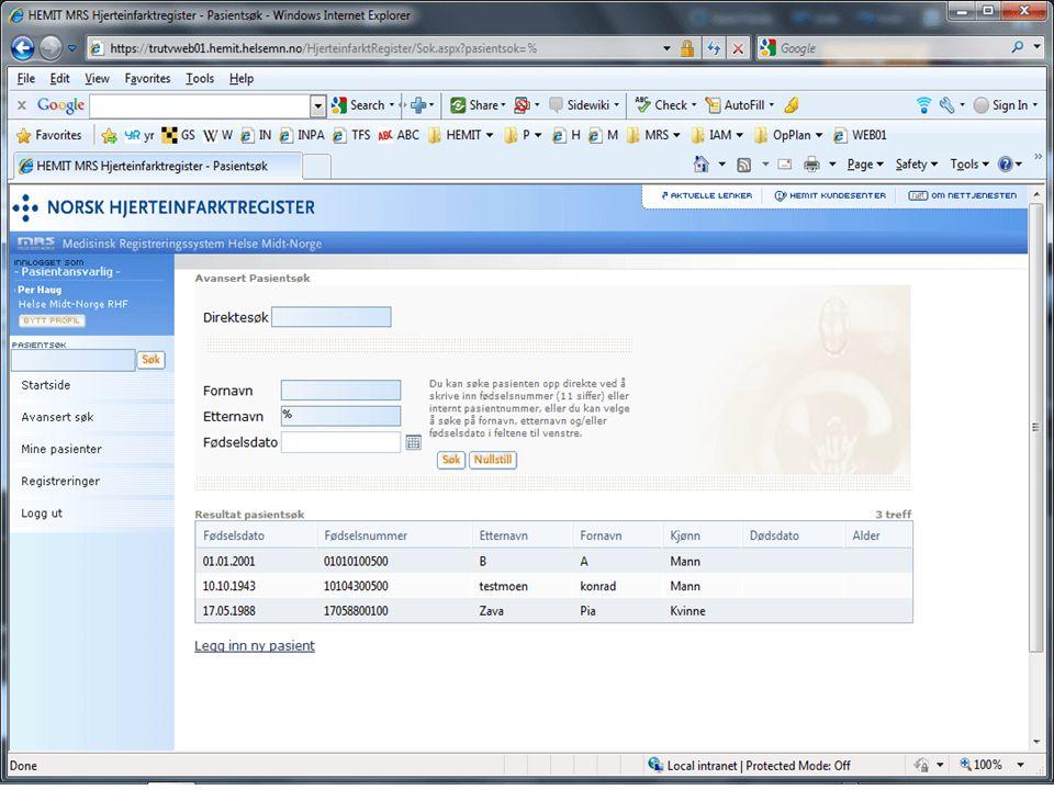 Melding Sykehus 1..n Databehandler for Nasjonalt helseregister Datafangst fra eksisterende kilder Nasjonalt Helseregister EPJ PAS EPJ løsninger (Dips/Doculive)