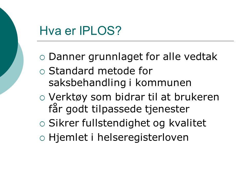 Hva er IPLOS?  Danner grunnlaget for alle vedtak  Standard metode for saksbehandling i kommunen  Verktøy som bidrar til at brukeren får godt tilpas