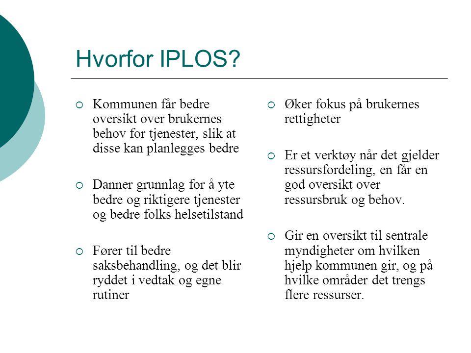 Hvorfor IPLOS?  Kommunen får bedre oversikt over brukernes behov for tjenester, slik at disse kan planlegges bedre  Danner grunnlag for å yte bedre