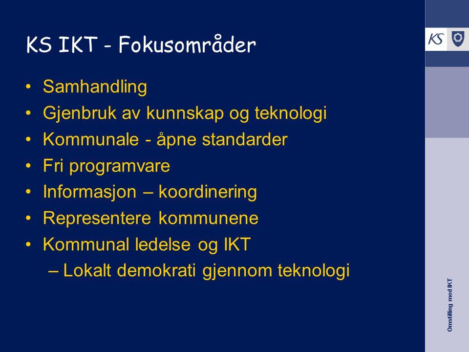 Omstilling med IKT KS IKT - Fokusområder •Samhandling •Gjenbruk av kunnskap og teknologi •Kommunale - åpne standarder •Fri programvare •Informasjon – koordinering •Representere kommunene •Kommunal ledelse og IKT –Lokalt demokrati gjennom teknologi
