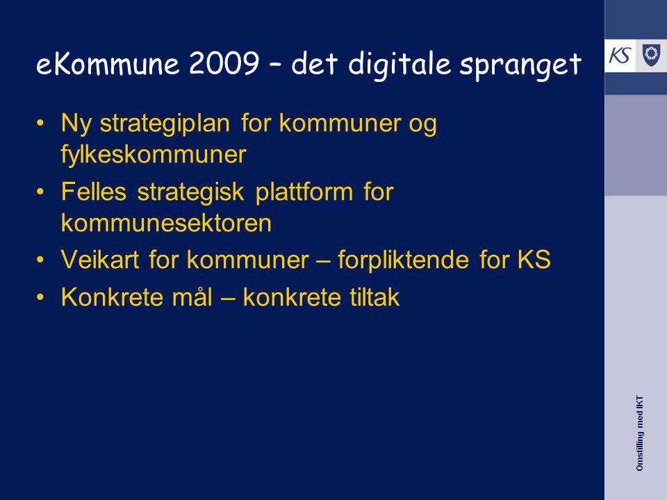 Omstilling med IKT eKommune 2009 – det digitale spranget •Ny strategiplan for kommuner og fylkeskommuner •Felles strategisk plattform for kommunesektoren •Veikart for kommuner – forpliktende for KS •Konkrete mål – konkrete tiltak