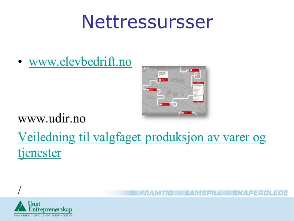 Nettressursser •www.elevbedrift.nowww.elevbedrift.no www.udir.no Veiledning til valgfaget produksjon av varer og tjenester /