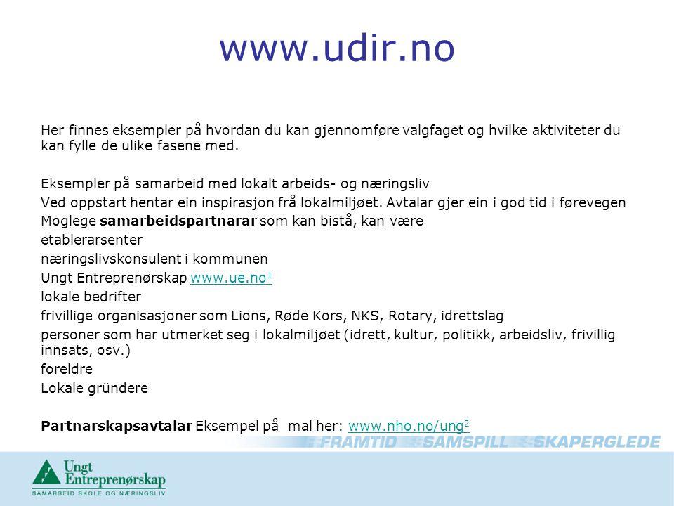 www.udir.no Her finnes eksempler på hvordan du kan gjennomføre valgfaget og hvilke aktiviteter du kan fylle de ulike fasene med.