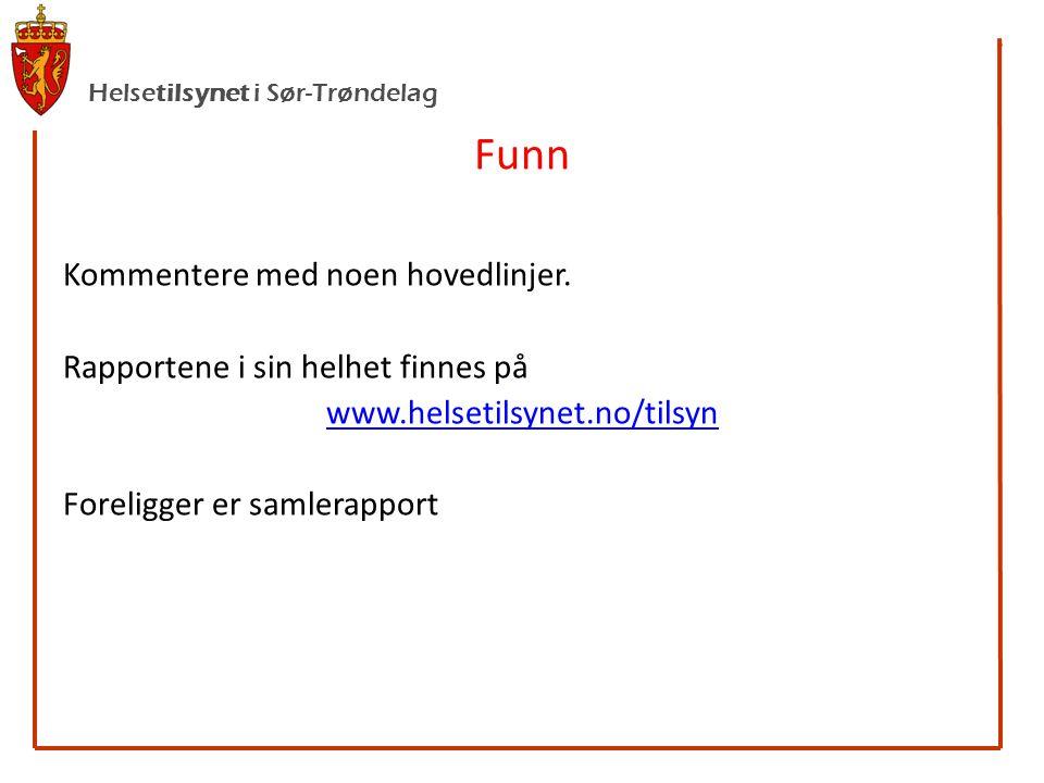 Helsetilsynet i Sør-Trøndelag Funn Kommentere med noen hovedlinjer.