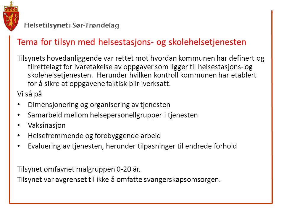 Helsetilsynet i Sør-Trøndelag Tema for tilsyn med helsestasjons- og skolehelsetjenesten Tilsynets hovedanliggende var rettet mot hvordan kommunen har definert og tilrettelagt for ivaretakelse av oppgaver som ligger til helsestasjons- og skolehelsetjenesten.