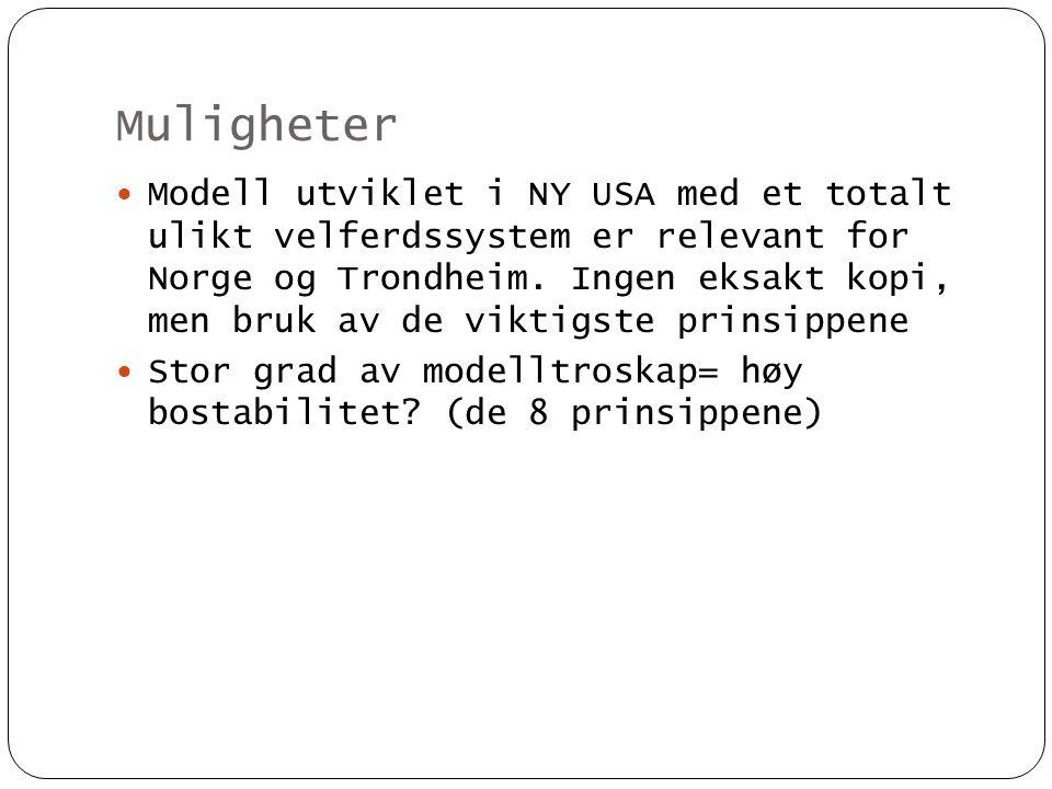Muligheter  Modell utviklet i NY USA med et totalt ulikt velferdssystem er relevant for Norge og Trondheim. Ingen eksakt kopi, men bruk av de viktigs