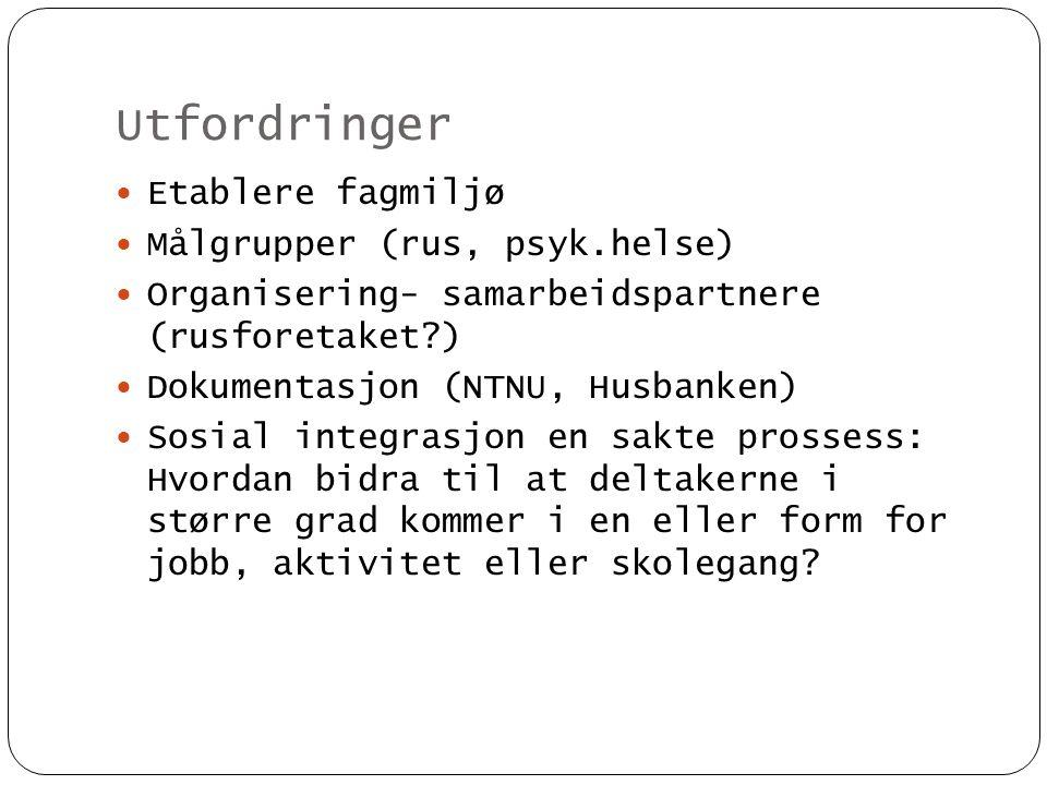 Utfordringer  Etablere fagmiljø  Målgrupper (rus, psyk.helse)  Organisering- samarbeidspartnere (rusforetaket?)  Dokumentasjon (NTNU, Husbanken) 
