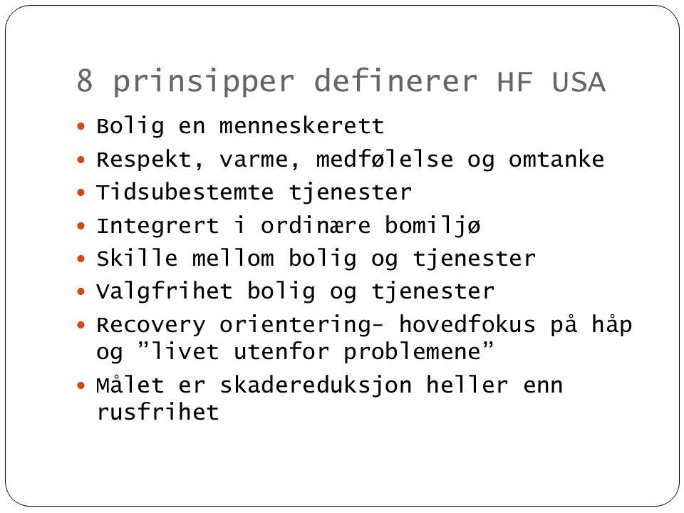 8 prinsipper definerer HF USA  Bolig en menneskerett  Respekt, varme, medfølelse og omtanke  Tidsubestemte tjenester  Integrert i ordinære bomiljø