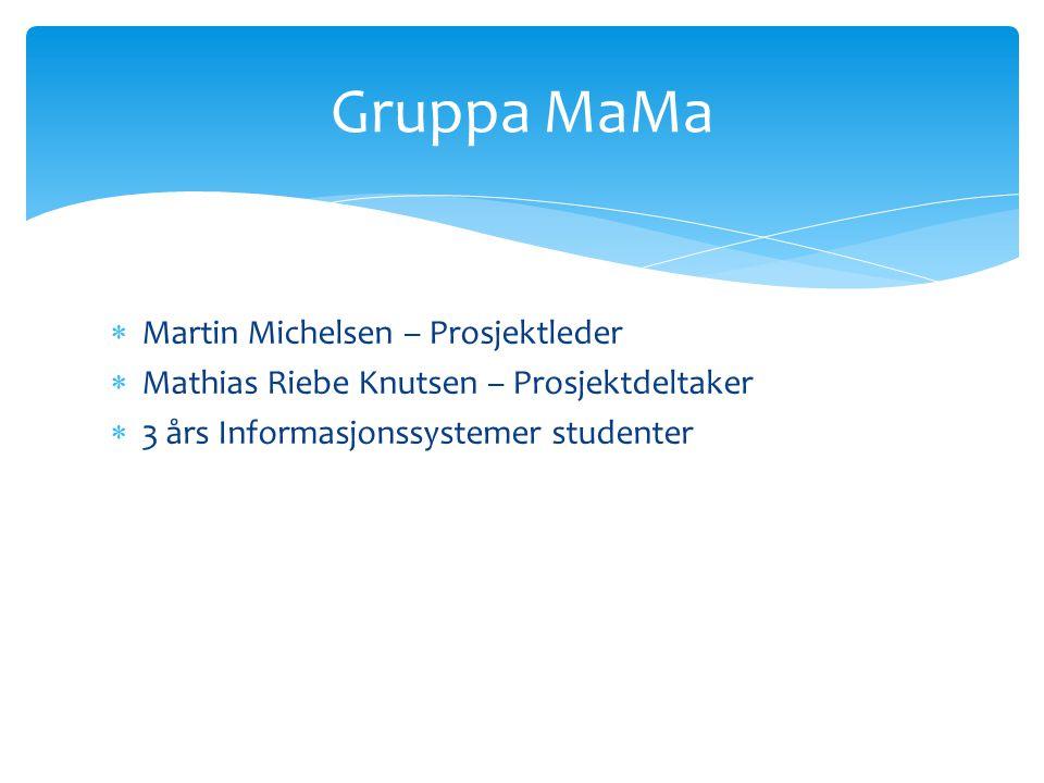  Martin Michelsen – Prosjektleder  Mathias Riebe Knutsen – Prosjektdeltaker  3 års Informasjonssystemer studenter Gruppa MaMa