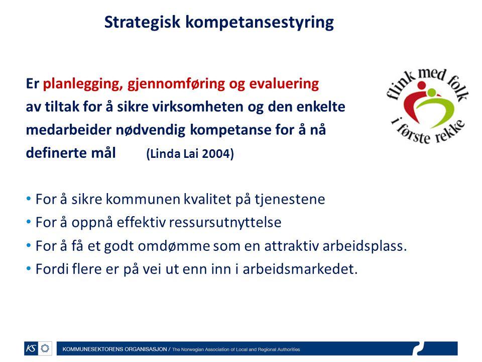 Strategisk kompetansestyring Er planlegging, gjennomføring og evaluering av tiltak for å sikre virksomheten og den enkelte medarbeider nødvendig kompe