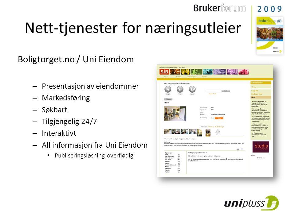 Boligtorget.no / Uni Eiendom – Presentasjon av eiendommer – Markedsføring – Søkbart – Tilgjengelig 24/7 – Interaktivt – All informasjon fra Uni Eiendom • Publiseringsløsning overflødig Nett-tjenester for næringsutleier