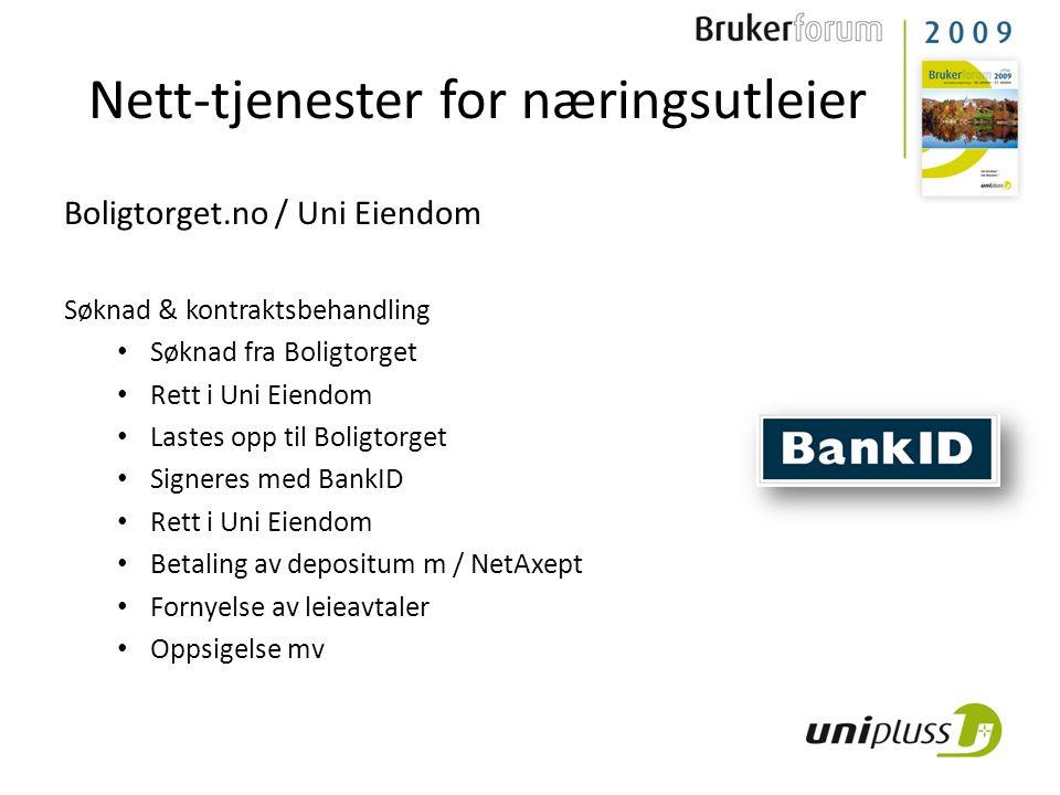 Nett-tjenester for næringsutleier Boligtorget.no / Uni Eiendom Søknad & kontraktsbehandling • Søknad fra Boligtorget • Rett i Uni Eiendom • Lastes opp