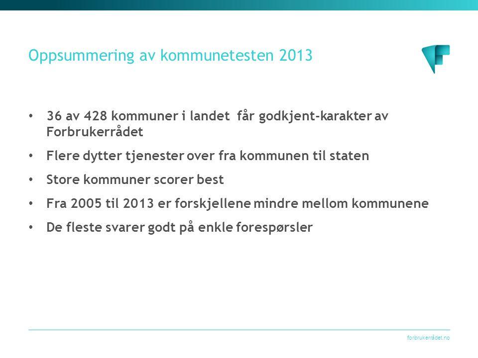 forbrukerrådet.no Oppsummering av kommunetesten 2013 • 36 av 428 kommuner i landet får godkjent-karakter av Forbrukerrådet • Flere dytter tjenester ov