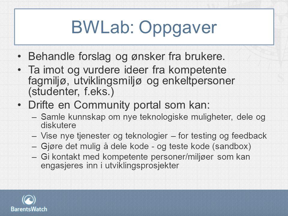 BWLab: Oppgaver •Behandle forslag og ønsker fra brukere.