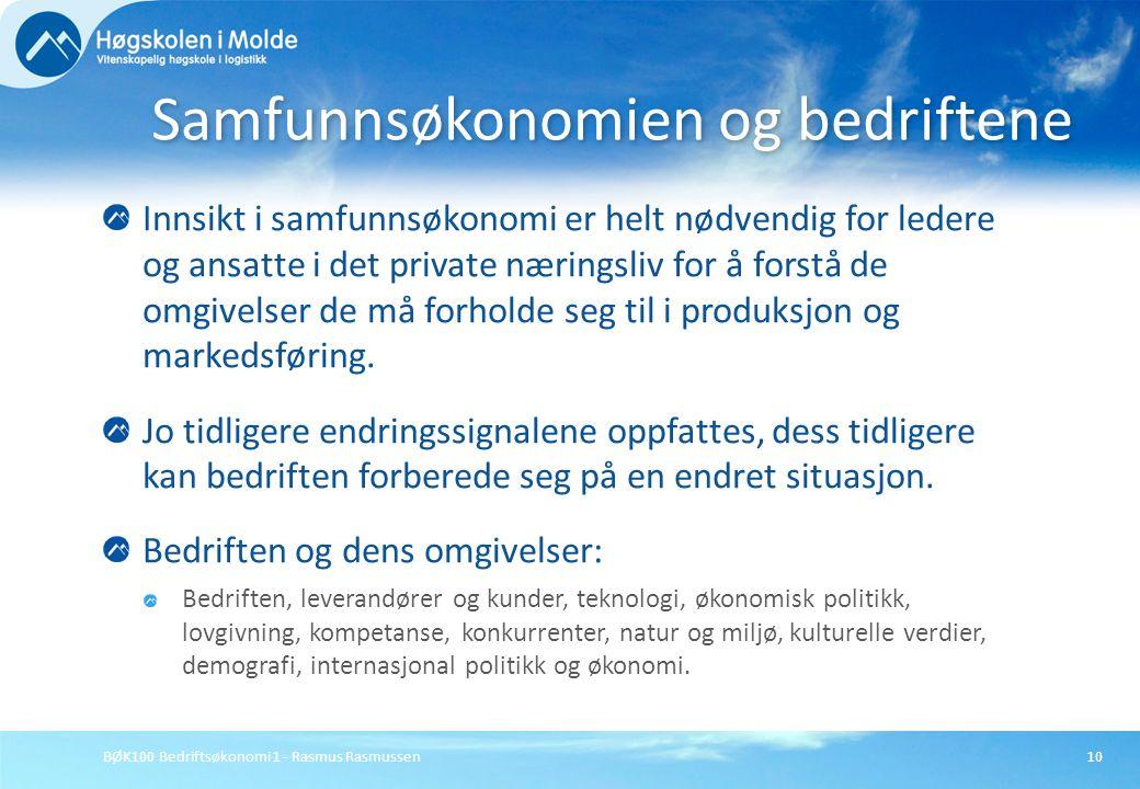 BØK100 Bedriftsøkonomi 1 - Rasmus Rasmussen10 Innsikt i samfunnsøkonomi er helt nødvendig for ledere og ansatte i det private næringsliv for å forstå